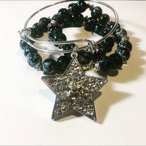 Beaded Bracelets with a Silver Charm Bangle